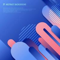 linha geométrica arredondada abstrata em azul e rosa vetor