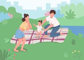 jovem piquenique em família vetor