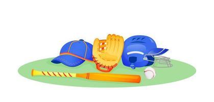 equipamento de beisebol na grama vetor