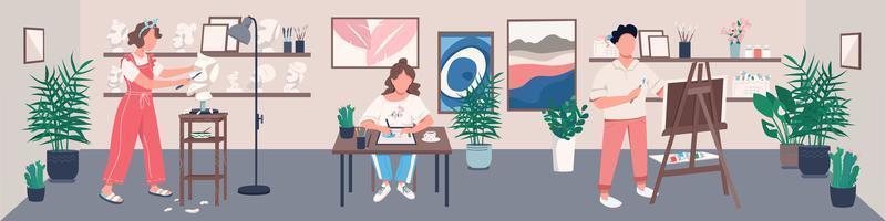 estúdio de arte com jovem artista vetor
