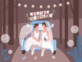 casal lésbico recém-casado no carro vetor