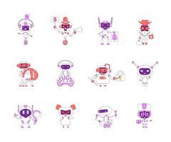 conjunto de objetos lineares vermelhos e violetas de robôs