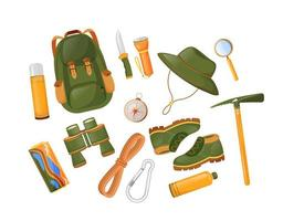 conjunto de objetos de equipamento de montanhismo