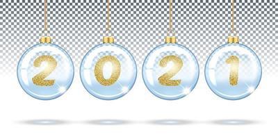 bolas de natal transparentes 2021 vetor