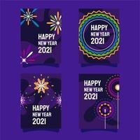 cartão de comemoração do ano novo da Fire Works vetor