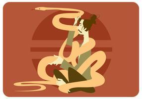 Anaconda e vetor do homem da meditação