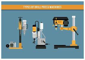 Tipos de máquina da imprensa de broca Vector