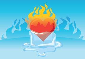 Coração flamejante dentro do cubo de gelo vetor