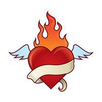 Ilustração do coração flamejante vetor