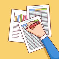 Relatório de analista de negócios na planilha vetor