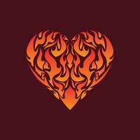 Flaming dentro do vetor de ilustração do coração