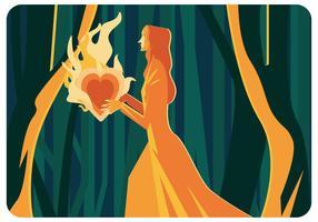 Vetor abstrato da ilustração do coração flamejante