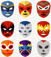 Vetores de máscaras de luta mexicanas livres