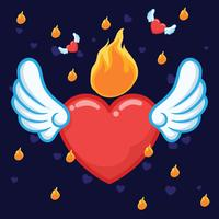Coração flamejante vetor