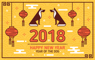 Ano novo chinês do fundo do cão vetor