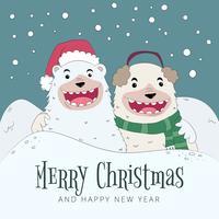 Urso Sorrindo Usando Vestuário De Natal Com Cena de Inverno vetor