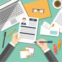 Pesquisa de emprego com CV Illustration Vector