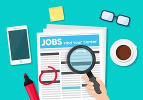 Pesquisa de emprego no jornal vetor
