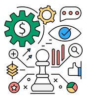 Ícones de estratégia de negócios grátis vetor