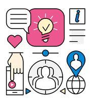 Ícones de pesquisa de empregado linear