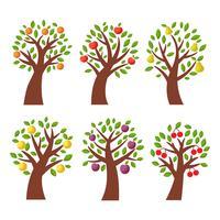 Vector de árvore de fruta fresca (maçã, pêssego, pêra)