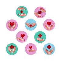Vector grátis de coleção de logotipo de saúde e cuidados
