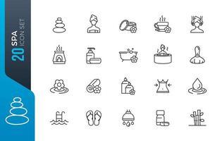 conjunto mínimo de ícones de spa vetor