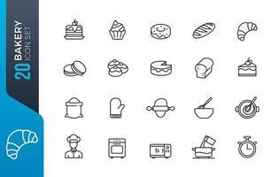 conjunto mínimo de ícones de padaria