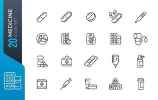conjunto mínimo de ícones de medicamentos vetor