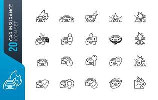 conjunto simples de ícones relacionados a acidentes de carro
