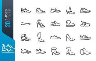 conjunto de ícones de sapatos mínimos vetor