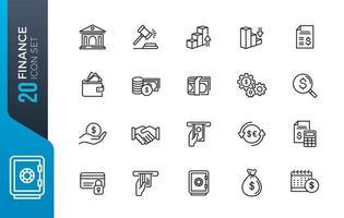 conjunto de ícones pretos de linhas de contorno de finanças e dinheiro vetor