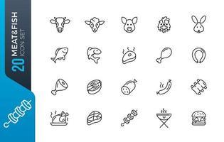 conjunto de ícones de carne e peixe