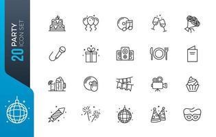 conjunto mínimo de ícones de festa