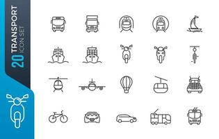conjunto de ícones de transporte mínimo