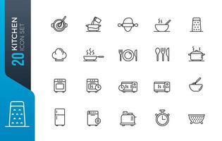 conjunto de ícones de utensílios mínimos de cozinha