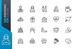 conjunto mínimo de ícones de casamento vetor