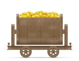 carrinho de mineração com ouro vetor