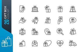 conjunto de ícones de caixa de presente