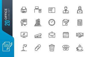 conjunto mínimo de ícones de escritório vetor
