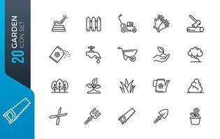 conjunto mínimo de ícones de jardim vetor