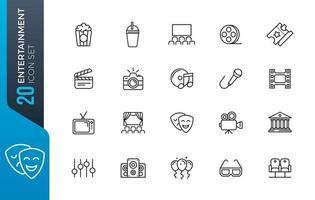 conjunto de ícones de entretenimento - coleção de ícones de contorno vetor