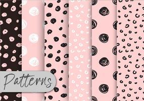 Conjunto de padrões rosa e preto vetor