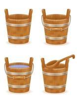 balde de madeira com textura de madeira antigo conjunto retro vintage vetor
