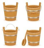 Conjunto de balde de madeira com textura de madeira vetor