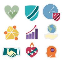 Ícone de ícones de valores de núcleo de empresa grátis vetor
