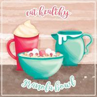 ilustração vetorial granola bowl vetor