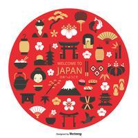 Ícones de vetor de cultura japonesa no círculo