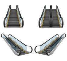 conjunto realista de escada rolante moderna vetor