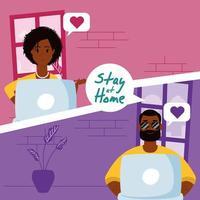 campanha para ficar em casa com pessoas em uma videochamada vetor